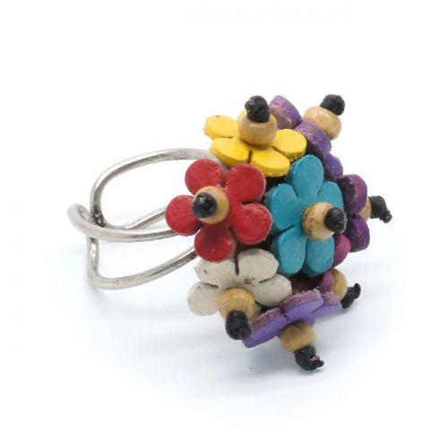 Δακτυλίδι με δερμάτινα χρωματιστα λουλουδάκια