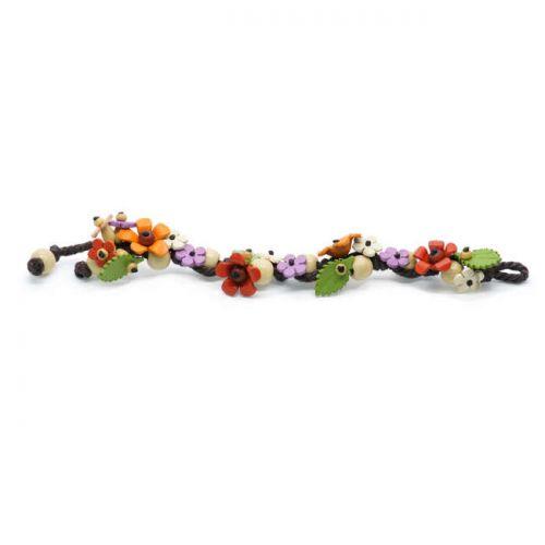 Βραχιόλι με δερματινα χρωματιστά λουλούδια