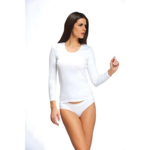 Φανέλα μακρύ μανίκι με λαιμόκοψη 100% βαμβακερή.Χρώμα:λευκό/μαύρο.