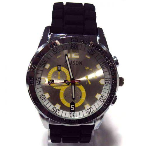 Ρολόι Unisex Season Time Μαύρο - Ασημί 44mm