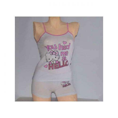 Εφηβικό σετ Hello Kitty βαμβακερό φανελάκι και μπόξερ