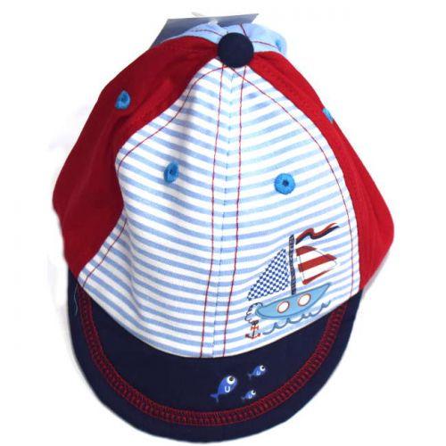 Καπέλο be-be jokey με ρίγες και σχέδιο βαρκούλα βαμβακερό