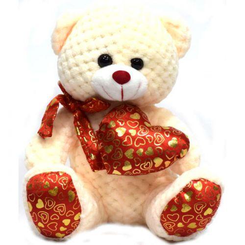 Αρκουδάκι λούτρινο με καρδιά και φιόγκο 25cm