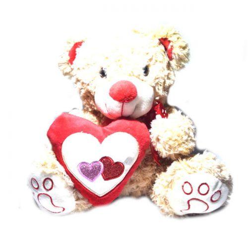 Αρκουδάκι λούτρινο με καρδιά 25cm