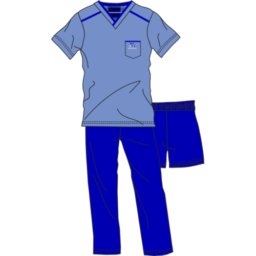 Πυτζάμα ανδρική Billy κοντό μανίκι και 2 παντελόνια κοντό - μακρύ