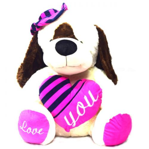 Σκύλος  λούτρινος με καρδιά 55cm